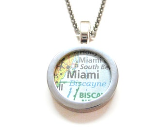 Miami Florida Map Pendant Necklace