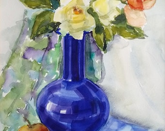 Blue Vase with Roses, Original Watercolor Flowers Painting, Rose Large Fine Art, Floral Wall Artwork, Still Life Home Decor