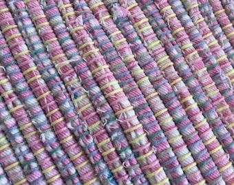 """Hand Woven Rag Rug Pink White Cotton Denim 27"""" x 50"""""""