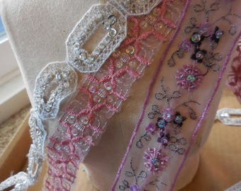 Vintage Beaded and sequin pinks and white sewing trim LOT 3 colors 3 styles