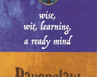 5x7 Art Print Ravenclaw Harry Potter Hogwarts House Motto Traits Wise Wit Learning Ready Mind Blue Bronze Eagle