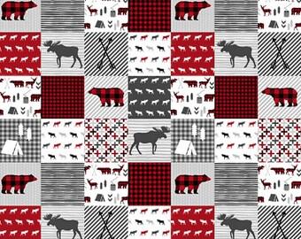 Baby Crib Quilt, Crib Bedding Boy, Woodland Nursery, Baby Boy Quilt, Woodland Baby Quilt, Red Grey Gray Moose Bear Plaid, Minky Baby Blanket