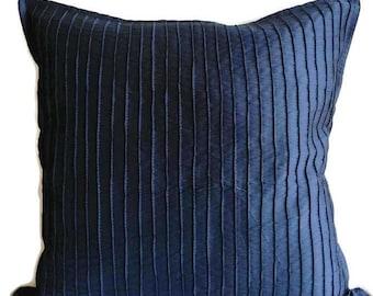 16x16 Decorative Pillow Cover Navy Blue Pintuck Throw Pillow Covers 16x16 Blue Pillow Covers Accent Toss Sofa Pillow Covers Textured