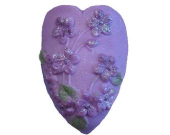 Soap -  Purple Violets - Decorative  Soap  - Glycerin Soap - Heart Soap -  Moisturizing Soap  - Organic Soap - Fragrance Oil Lilac