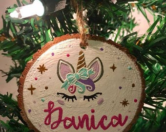 Unicorn Ornament - Wood Slice Ornament - Custom Ornament - Personalized Ornament - Rustic Ornament - Primitive Ornament - Christmas Ornament