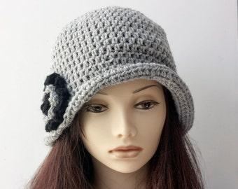 1920's Cloche Crochet Pattern, Flower Hat Pattern, Fast, Easy Pattern, Instant Download, Brimmed Hat PDF Pattern