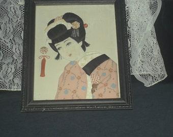 Silk Applique Geisha Girl Picture