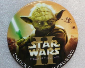 Star Wars II Move DVD Promotional Button Attack of the Clones YODA Light Sabre