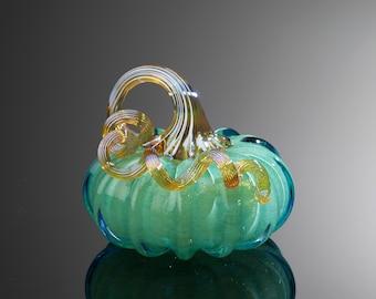 Walker and Bowes Blue/Teal Glass Pumpkin 9466 E 88