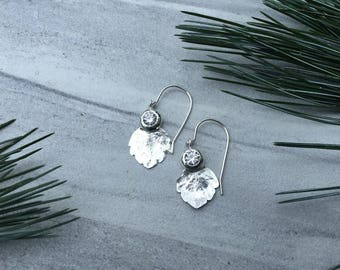Big Sparkle and Little Leaf Earrings