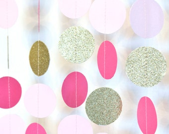 Fuschia Pink and Gold, 10ft, Paper Garland, Birthday Party Decor, Wedding Decor, Shower Decor, Nursery