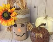 Scarecrow Mason Jar, Fall Decor, Scarecrow Decor, Fall Mason Jar, Cute Scarecrow, Fall Decorations, Autumn Decor, Mason jar with Sunflower