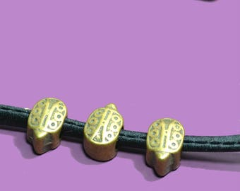 4 beads for cord 5mm ladybugs color bronze