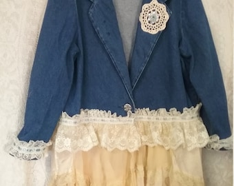 Shabby Chic Upcycle Lace Denim Jacket Bohemian Denim Jacket Boho Chic Size Large