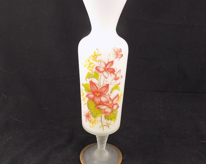 Empoli Frosted Glass White Footed Vase with Enameled Pink Flowers Gold trim Twisted Stem