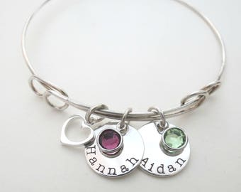 Personalized Heart Bracelet with Birthstone - Mothers Bracelet - Grandma - Son - Personalized Jewelry - Engraved - Daughter - Family -Custom