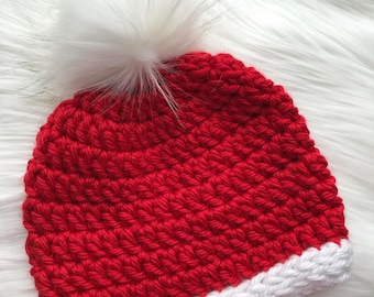 Chunky Crochet Beanie with Faux Fur Pom Pom - Mrs. Claus - Red // White