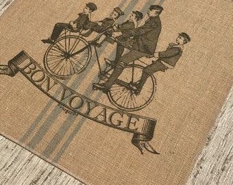 Bicycle Grainsack Burlap Panel, Reproduction Printed Fabric