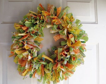Tattered Fabric Rag Wreath Spring Greens 18""