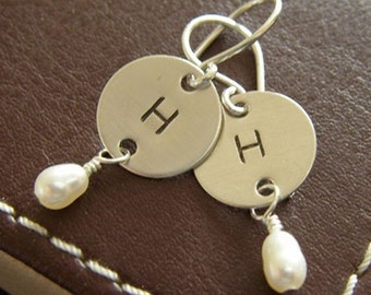 Personalized Initial Dangle Earrings - Hand Stamped Sterling Silver - Initial Charm Earrings with Birthstones or Pearls