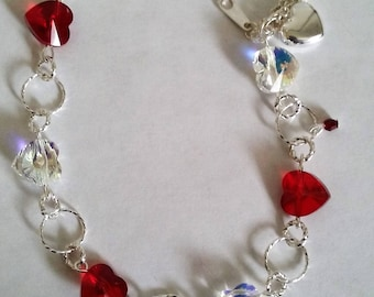 Bracelet, Valentine's Day, Hearts, Twisted Jumprings, Swarovski, Under 25.00, Cable Chain