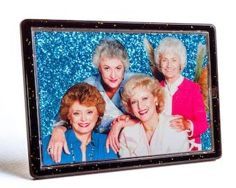 The GOLDEN GIRLS Glittered Magnet and Photo Easel Frame Custom Made Betty White Bea Arthur Rue McClanahan Estelle Getty
