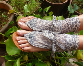 Boho Leather Woman Sole Pakashoes With Switchable Muslin Free  Shipping