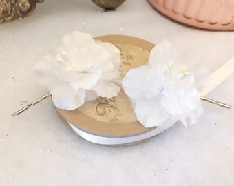 Ivory Cream Azalea Floral Bridal Wedding Hair Bobby Pin Hair Clip Accessory Vintage Boho