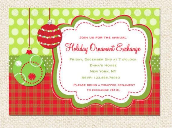Holiday Ornament Exchange Invitation Modern Holiday Swap