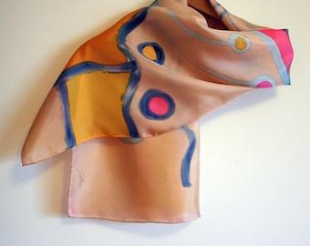 "Handpainted Silk Scarf.Silk Scarf.Hand Painted Silk Shawl.Wedding Gift. Silk Art. 55""x18""  (140x45 cm) Ooak scarves"