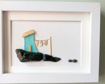 Unframed 5 by 7, sea glass house, clothesline art, housewarming gift, birthday gift, ,mother's day gift,#winnipegteam, by Jenny Love