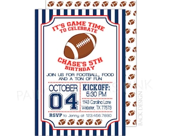 Football Birthday Party Invitation | 5x7 | Professionally Printed or Printable | Customized | Game Time | Sports | Touchdown