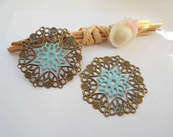 x 2 prints bronze 3.5 cm turquoise enameled flower