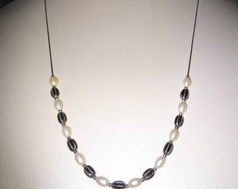 Rice Pearl & Silver Enameled Bead Necklace