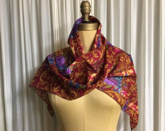 Scarf Long Multi-Colored Rich Jewel Tone Print