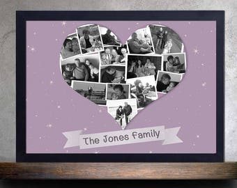 Heart Photo Collage, Anniversary Gift, Gift for Family, Valentines Gift for him, Gift for Husband, Grandparent, Nan, Parents, Memory