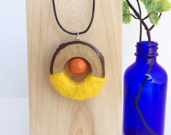 Natural wood & felt pendant - wood statement necklace - eco jewelry - mixed media jewelry
