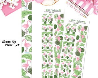 Washi Tape! Flamingos and Palm Branches 15mm & 30mm Washi Tape Set Vertical and Horizontal - Style 018W