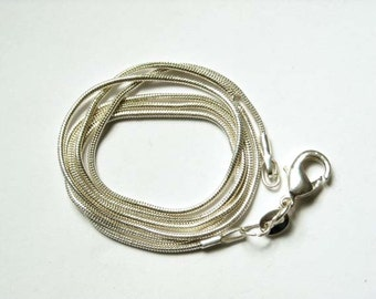 18 Inch 1mm Silver Plated Snake Chain