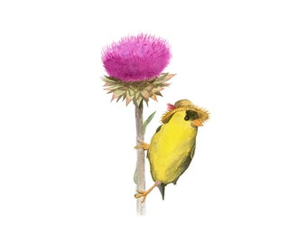 """No.2 - """"Goldfinch with Straw Hat"""" - high-quality 8x10"""" giclée fine art print, signed by artist"""