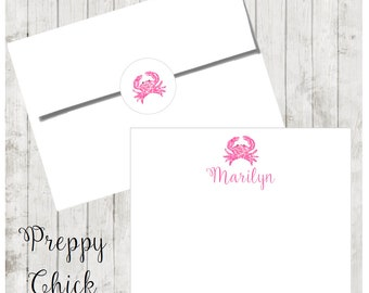 Set of 24-Preppy Notecards, Personalized Flat Note Cards, Preppy Stationery, Tropical, Crab, Thank You Cards, Teacher Notes