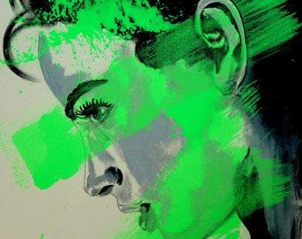Portrait black & white with neon green  xl large artwork contemporary art