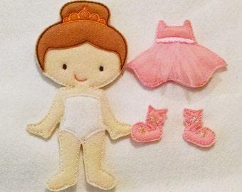 Ballerina Ava Grace doll plus felt outfit , Quiet Game, felt gamel, travel toy,  Felt Favor, Children's Toy #1527doll