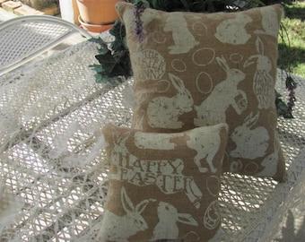 Smaller Plump Easter Bunny Pillow, Burlap Pillow