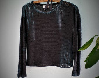 Large Edgy Dystopian Distressed Gray Sweater Cropped Painted