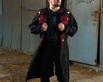 Black Pirate Jacket with Red and Black Lapels, Steampunk Airship Captain, Ship, NeoVictorian, Victorian, Gentleman, Gentelmen, Open Coat