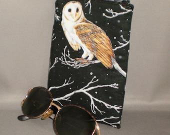 Owl - Eyeglass or Sunglasses Case - Zipper Top - Padded Zippered Pouch - Barn Owls