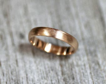 Mens Wedding Band,  Matte Brushed Gold Men's or Women's Unisex 4mm Low Dome Recycled Metal 14k Yellow Gold Ring - Made in Your Size