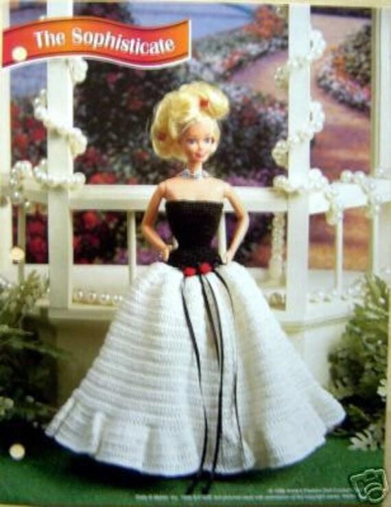 Crochet Patrón de muñeca Barbie moda sofisticado vestido de