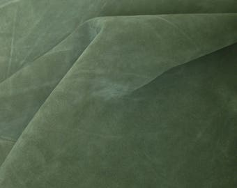 dark green suede scrap- genuine real leather piece- italian quality cow leather (P-7)